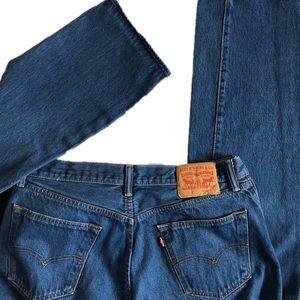 Levi's 501 Button Fly Jeans Size 33X36 Blue EUC